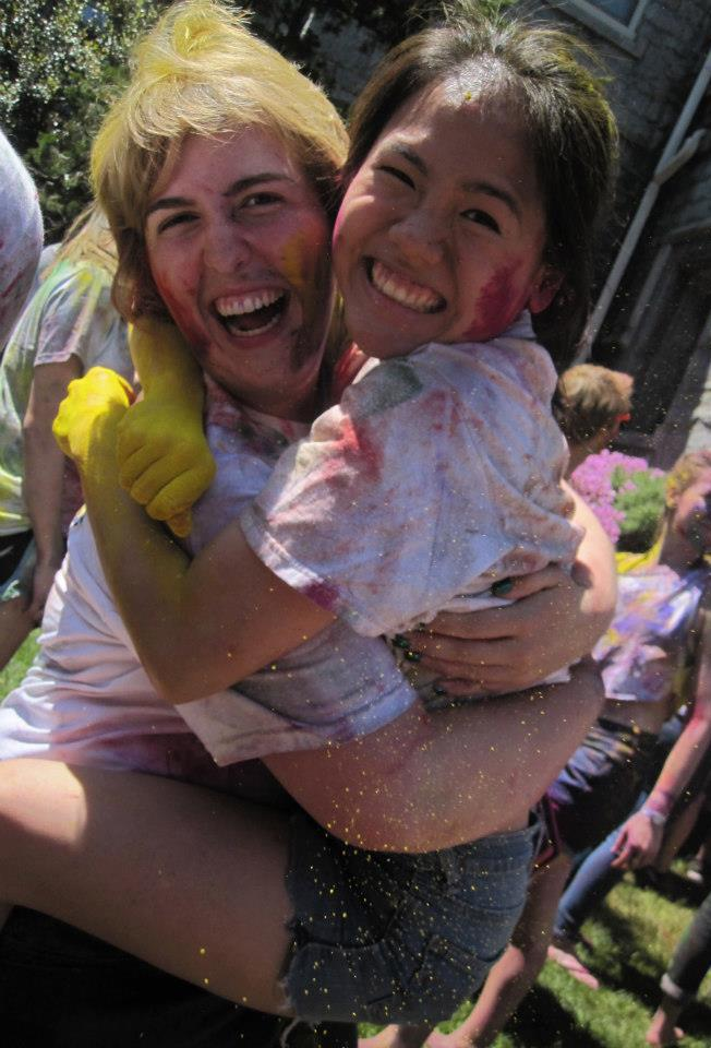 My heller Amelia and I covered in powder at Holi (photo credit: AL '13)