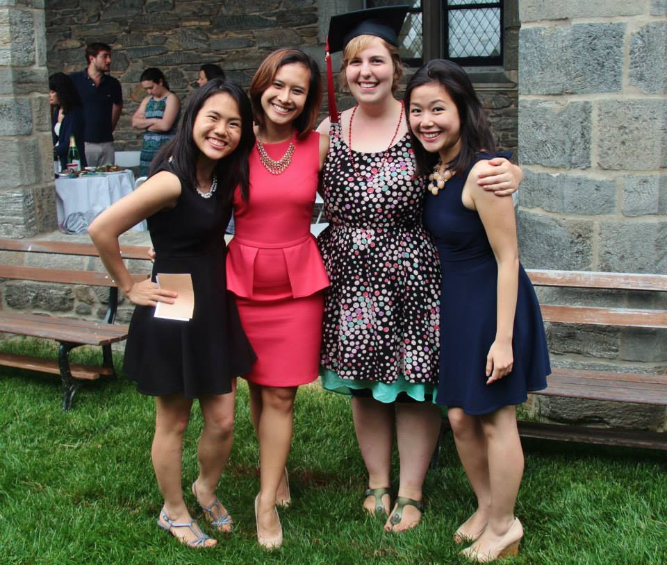 My three garden party seniors (from left to right: Amelia, Alia, me, and Duong) Photo credit: AL'13