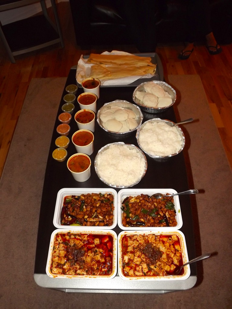 Delicious South Indian food and Chinese food for Megha!